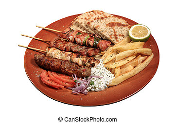 meat skewers on a plate