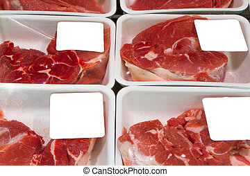Meat slices in boxes