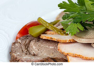 Meat snacks with green parsley