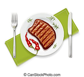Meat steak at with fork vector illustration.