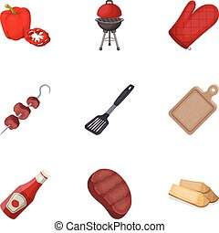 Meat, steak, firewood, grill, table and other accessories for barbecue.BBQ set collection icons in cartoon style vector symbol stock illustration web.