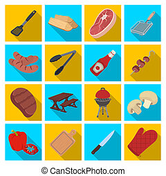 Meat, steak, firewood, grill, table and other accessories for barbecue. BBQ set collection icons in flat style bitmap, raster symbol stock illustration web.