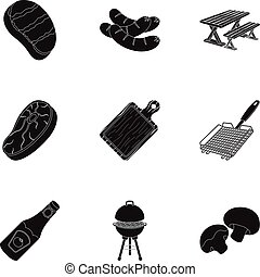 Meat, steak, firewood, grill, table and other accessories for barbecue.BBQ set collection icons in black style vector symbol stock illustration web.