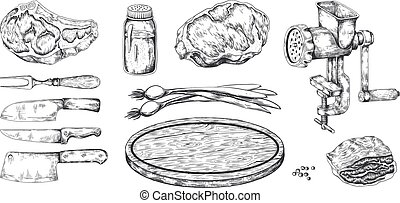 Meat steak. Hand drawn pork veal and bacon beef and lamb cookery, butchery food products sketch. Vector doodle menu