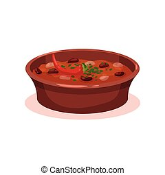 Meat stew with bean in a bowl, Bulgarian cuisine national food dish vector Illustration on a white background