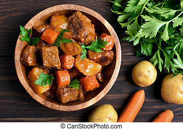 Meat stew with vegetables, top view