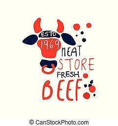 Meat store logo template, premium beef vintage label...