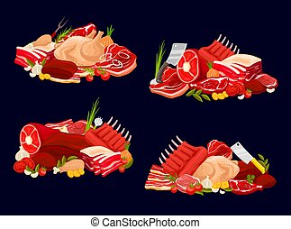 Meat types veal and beef, pork, chicken and mutton - Meat ...