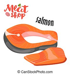 Meat vector - salmon. Fresh meat icon.