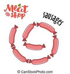 Meat vector - sausages. Fresh meat icon