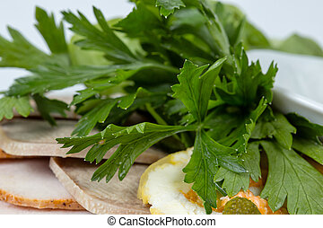 Meat with green parsley