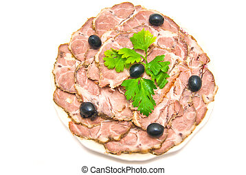 meat with herbs on a plate