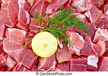 Meat with onion and dill texture