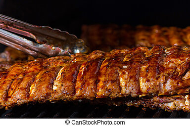Meat with ribs on fire.