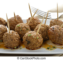 Meatball Appetizers, Close Up Shot