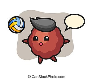 Meatball cartoon is playing volleyball