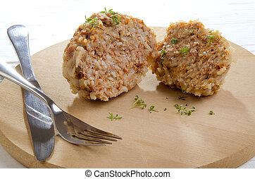 meatball cooked with rice
