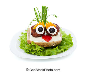 Meatball eyed onion haired creative sandwich - funny food
