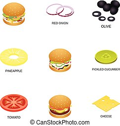 Meatball icons set, isometric style