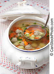 Meatball soup - Vegetable soup with meatballs in a tureen