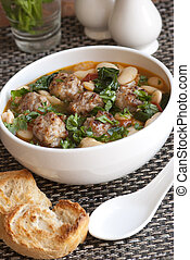 Meatball stew - Pork meatball stew with tomato, spinach and ...