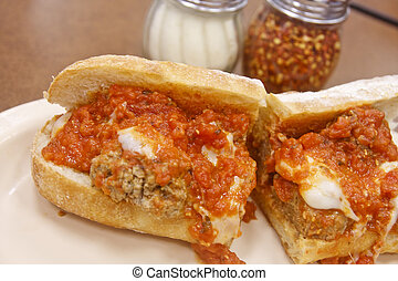 Meatball Sub with Parmesan and Hot Pepper