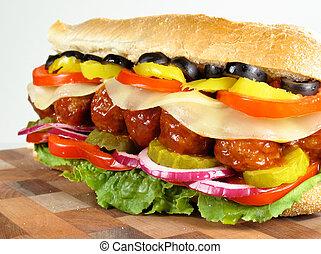 Meatball Submarine - Meatball submarine sandwich with cheese...