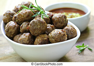 Meatballs and sauce - Fresh hot meatball appetizers served ...