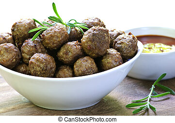 Meatballs and sauce - Fresh hot meatball appetizers served...