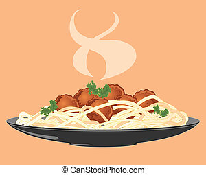 meatballs and spaghetti - an illustration of a plate of...