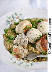 Meatballs (chicken) in eggplant sauce