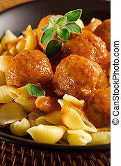 meatballs, en, pasta