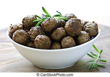 Meatballs - Fresh hot meatball appetizers served in white...