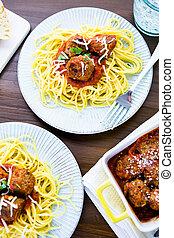 Meatballs - Homemade Italian meatballs garnished with ...