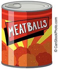 Meatballs in aluminum can