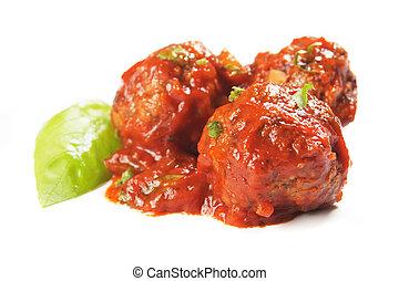 meatballs, met, tomatensaus