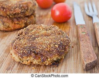 Meatballs on breadboard.