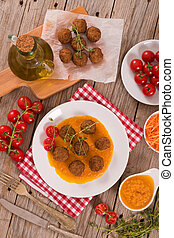 Meatballs with carrot pure.
