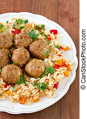 meatballs with rice on plate