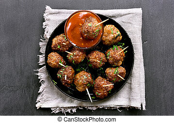 Meatballs with sauce, top view