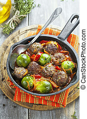 Meatballs with vegetables in tomato sauce - Meatballs with...
