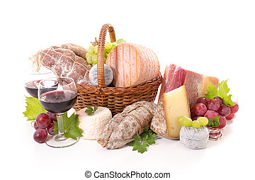 meat,cheese and wine isolated on white