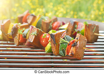 Meatless grilling: Vegetarian skewers with seitan and mixed...
