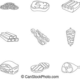 Meats set icons in outline style. Big collection of meats vector symbol stock illustration