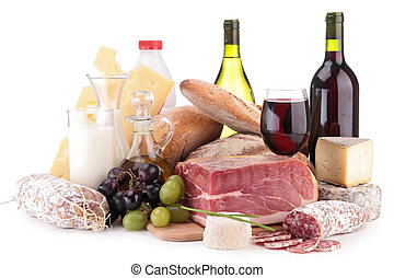 meat,wine and dairy products