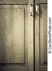 meble, part., closeup, od, drewniany, kuchenny gabinet