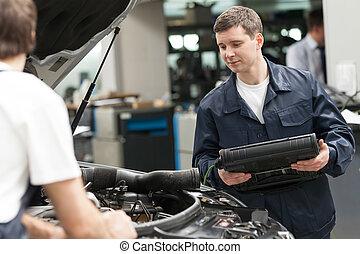 mecánica, en el trabajo, shop., dos, confiado, automóvil,...