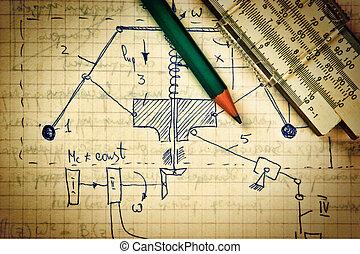 mecánica, lápiz, viejo, regla, diapositiva, cálculos, página