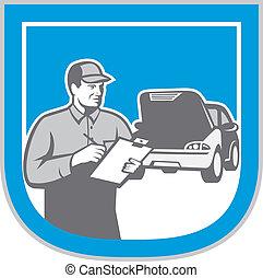 mecánico auto, automóvil, reparación coche, cheque, retro