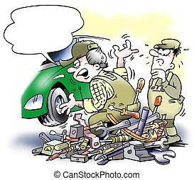 mecánico auto, cambiar, un, motor coche